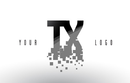 tx: TX T X Pixel Letter Logo with Digital Shattered Black Squares. Creative Letters Vector Illustration.