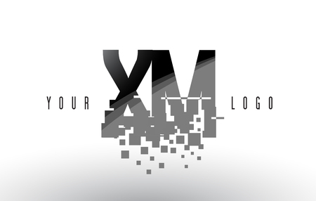 xm: XM X M Pixel Letter Logo with Digital Shattered Black Squares. Creative Letters Vector Illustration.