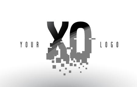 XO X O Pixel Letter Logo with Digital Shattered Black Squares. Creative Letters Vector Illustration.