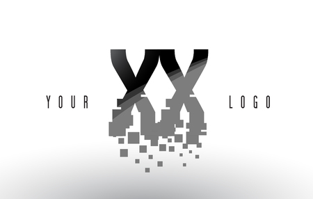 XX X X Pixel Letter Logo with Digital Shattered Black Squares. Creative Letters Vector Illustration. Illustration