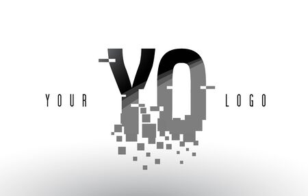 YO Y O Pixel Letter with Digital Shattered Black Squares. Creative Letters Illustration.
