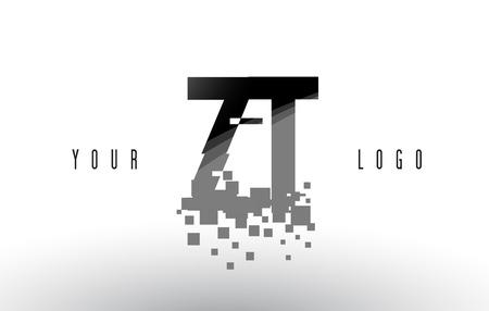Dijital Paramparça Siyah Karelerle ZT ZT Piksel Harfli Logo. Yaratıcı Mektuplar Vektörel İlüstrasyon. Çizim