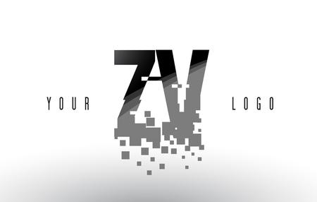 ZV Z V Pixel Letter Logo with Digital Shattered Black Squares. Creative Letters Vector Illustration.