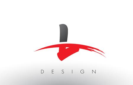 L Brush Logo Letters Design with Red and Black Colors and Brush Letter Concept. Ilustração