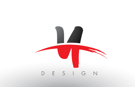Y Brush Logo Letters Design with Red and Black Colors and Brush Letter Concept.