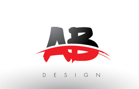 AB A B Brush Logo Letters Design with Red and Black Colors and Brush Letter Concept.