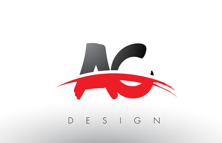 ac: AC A C Brush Logo Letters Design with Red and Black Colors and Brush Letter Concept.