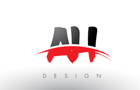 AH A H Brush Logo Letters Design with Red and Black Colors and Brush Letter Concept.