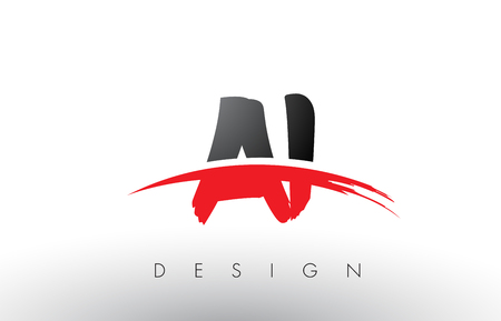 AI A I Brush Logo Letters Design with Red and Black Colors and Brush Letter Concept.