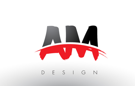 AM A M Brush Logo Letters Design with Red and Black Colors and Brush Letter Concept.
