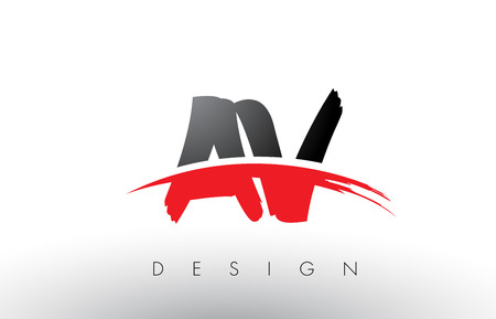 AV A V Brush Logo Letters Design with Red and Black Colors and Brush Letter Concept.