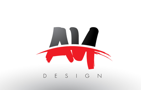 AY A Y Brush Logo Letters Design with Red and Black Colors and Brush Letter Concept. Illustration