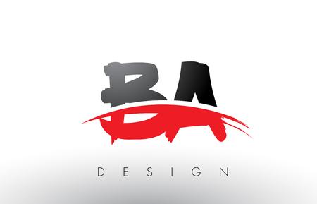 BA B ブラシ ロゴ文字を赤と黒の色とブラシの文字概念設計。