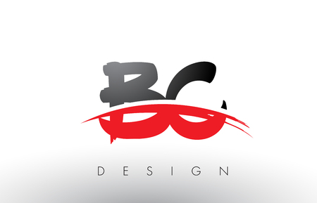 identidad personal: BC B C Brush Logo Letters Design with Red and Black Colors and Brush Letter Concept.