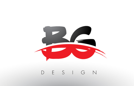 BG B G Brush Logo Letters Design with Red and Black Colors and Brush Letter Concept.
