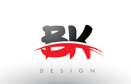 BK B K Brush Logo Letters Design with Red and Black Colors and Brush Letter Concept.