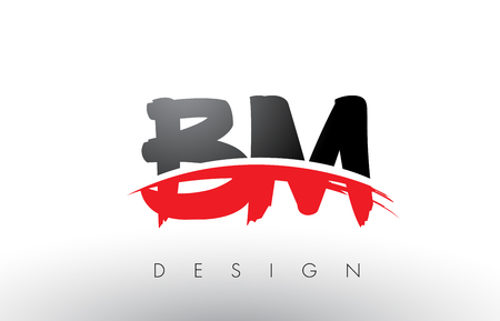 BM B M Brush Logo Letters Design with Red and Black Colors and Brush Letter Concept. Illustration