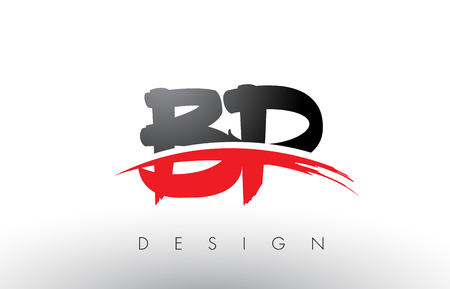 BP B P Brush Logo Letters Design with Red and Black Colors and Brush Letter Concept.