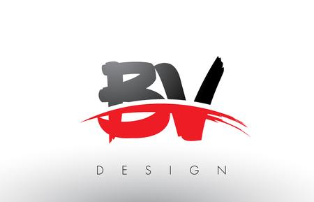 BV B V Brush Logo Letters Design with Red and Black Colors and Brush Letter Concept. Illustration
