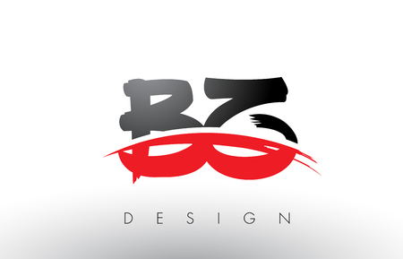 BZ B Z Brush Logo Letters Design with Red and Black Colors and Brush Letter Concept.