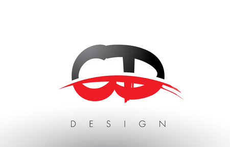 CD C D Brush Logo Letters Design with Red and Black Colors and Brush Letter Concept. Illustration