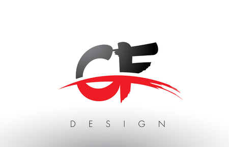 CF C F Brush Logo Letters Design with Red and Black Colors and Brush Letter Concept.