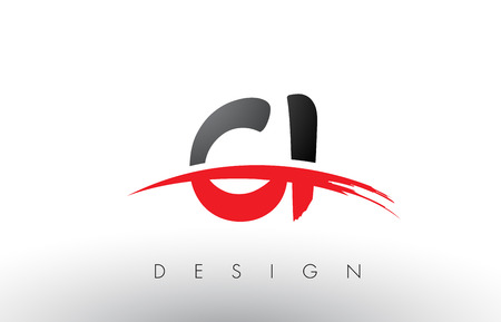 CI C I Brush Logo Letters Design with Red and Black Colors and Brush Letter Concept.