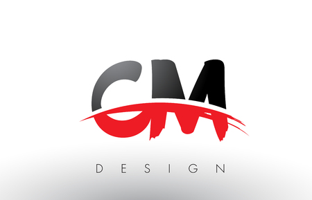 CM C M Brush Logo Letters Design with Red and Black Colors and Brush Letter Concept.