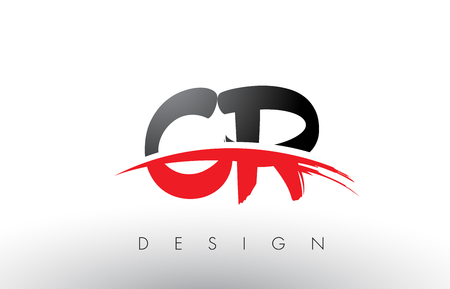 cr: CR C R Brush Logo Letters Design with Red and Black Colors and Brush Letter Concept.