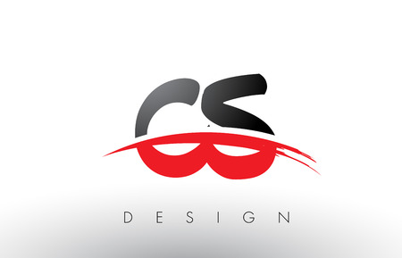 cs: CS C S Brush Logo Letters Design with Red and Black Colors and Brush Letter Concept.