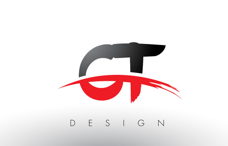 CT C T Brush Logo Letters Design with Red and Black Colors and Brush Letter Concept.