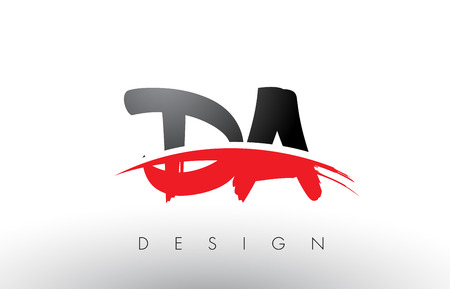 DA D A Brush Logo Letters Design with Red and Black Colors and Brush Letter Concept.