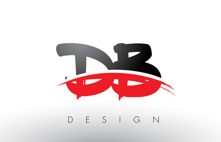 DB D B Brush Logo Letters Design with Red and Black Colors and Brush Letter Concept.