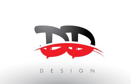 Dd de la conception de logo de brosse de pinceau avec des couleurs rouges et noir et le symbole de brosse de brosse . lettre Banque d'images - 79234448
