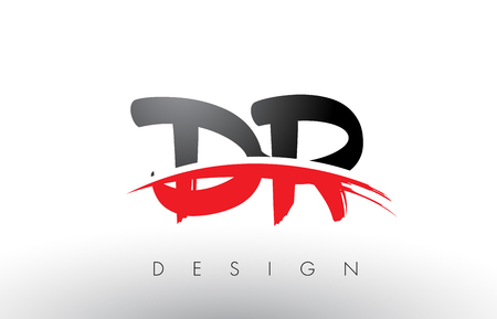 dr: DR D R Brush Logo Letters Design with Red and Black Colors and Brush Letter Concept. Illustration