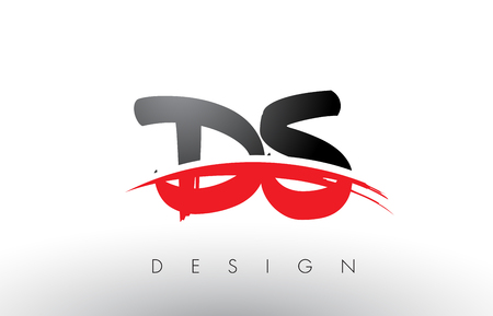 DS D S Brush Logo Letters Design with Red and Black Colors and Brush Letter Concept.