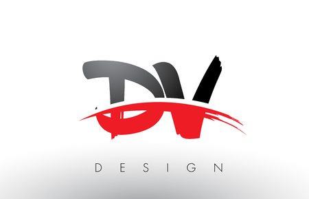 DV D V Brush Logo Letters Design with Red and Black Colors and Brush Letter Concept.