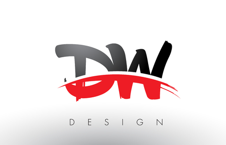 DW D W Brush Logo Letters Design with Red and Black Colors and Brush Letter Concept.