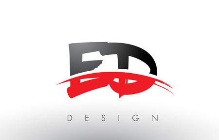 ED E D Brush Logo Letters Design with Red and Black Colors and Brush Letter Concept.
