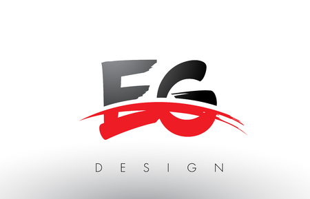 EG E G Brush Logo Letters Design with Red and Black Colors and Brush Letter Concept.