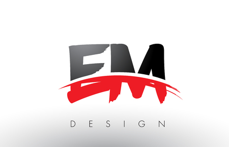 EM E M Brush Logo Letters Design with Red and Black Colors and Brush Letter Concept.