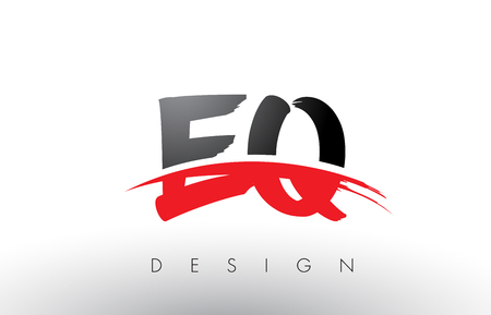 EQ E Q Brush Logo Letters Design with Red and Black Colors and Brush Letter Concept. Illustration