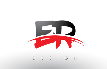 ER E R Brush Logo Letters Design with Red and Black Colors and Brush Letter Concept.