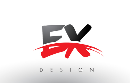EX E X Brush Logo Letters Design with Red and Black Colors and Brush Letter Concept.