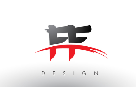 FF F F Brush Logo Letters Design with Red and Black Colors and Brush Letter Concept. Logo