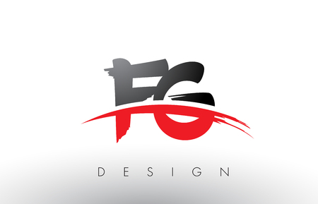 FG F G Brush Logo Letters Design with Red and Black Colors and Brush Letter Concept. Stock Vector - 79173327