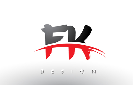 FK F K Brush Logo Letters Design with Red and Black Colors and Brush Letter Concept. Logó