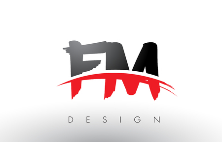 fm: FM F M Brush Logo Letters Design with Red and Black Colors and Brush Letter Concept.