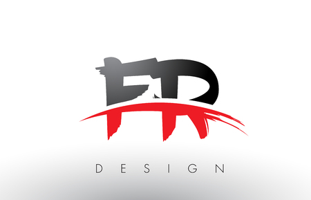 FR F R Brush Logo Letters Design with Red and Black Colors and Brush Letter Concept. Illustration