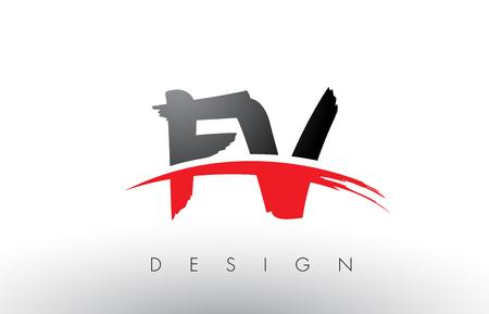 FV F V Brush Logo Letters Design with Red and Black Colors and Brush Letter Concept. Illustration